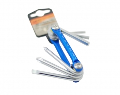 6pc Foldable Hex Key & screwdriver set with Alu. frame size: Hex-3,5,6mm Screwdriver-F6, Ph1,Ph2