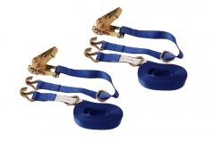 "2pc-pack 4.5m Ratchet Strap Tie Down with D Ring & J Hook 1""x4.5mx450kg for Ladder Racks Car Trailer"