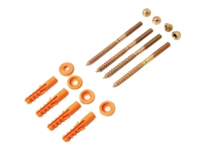 Sanitary Floor Fixing 16pc Kit for Toilet WC Lavatory Bidet: 4x  Screws/Nuts/Plugs and Washers