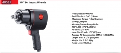 "Selta Taiwan Heavy Duty 3/4"" Dr 1500Ft-Ib/2034nm Air Impact Wrench Truck Vehicle"