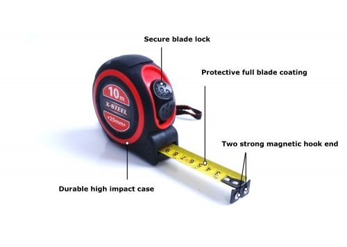 Profession 10m/33ft x25mm Dual Scale Measuring Tape Dual Magnetic System